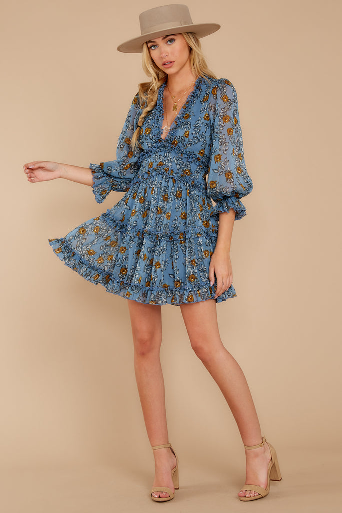 1 Sweeter By The Hour Bright Blue Print Dress at reddress.com