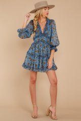 3 Make It A Date Night Light Blue Floral Print Dress at reddress.com