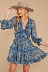5 Make It A Date Night Light Blue Floral Print Dress at reddress.com