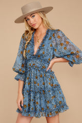 6 Make It A Date Night Light Blue Floral Print Dress at reddress.com