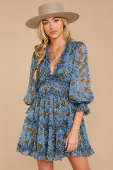 7 Make It A Date Night Light Blue Floral Print Dress at reddress.com