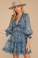 8 Make It A Date Night Light Blue Floral Print Dress at reddress.com