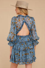 9 Make It A Date Night Light Blue Floral Print Dress at reddress.com