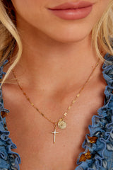 2 Hopeful Cross Gold Necklace at reddress.com