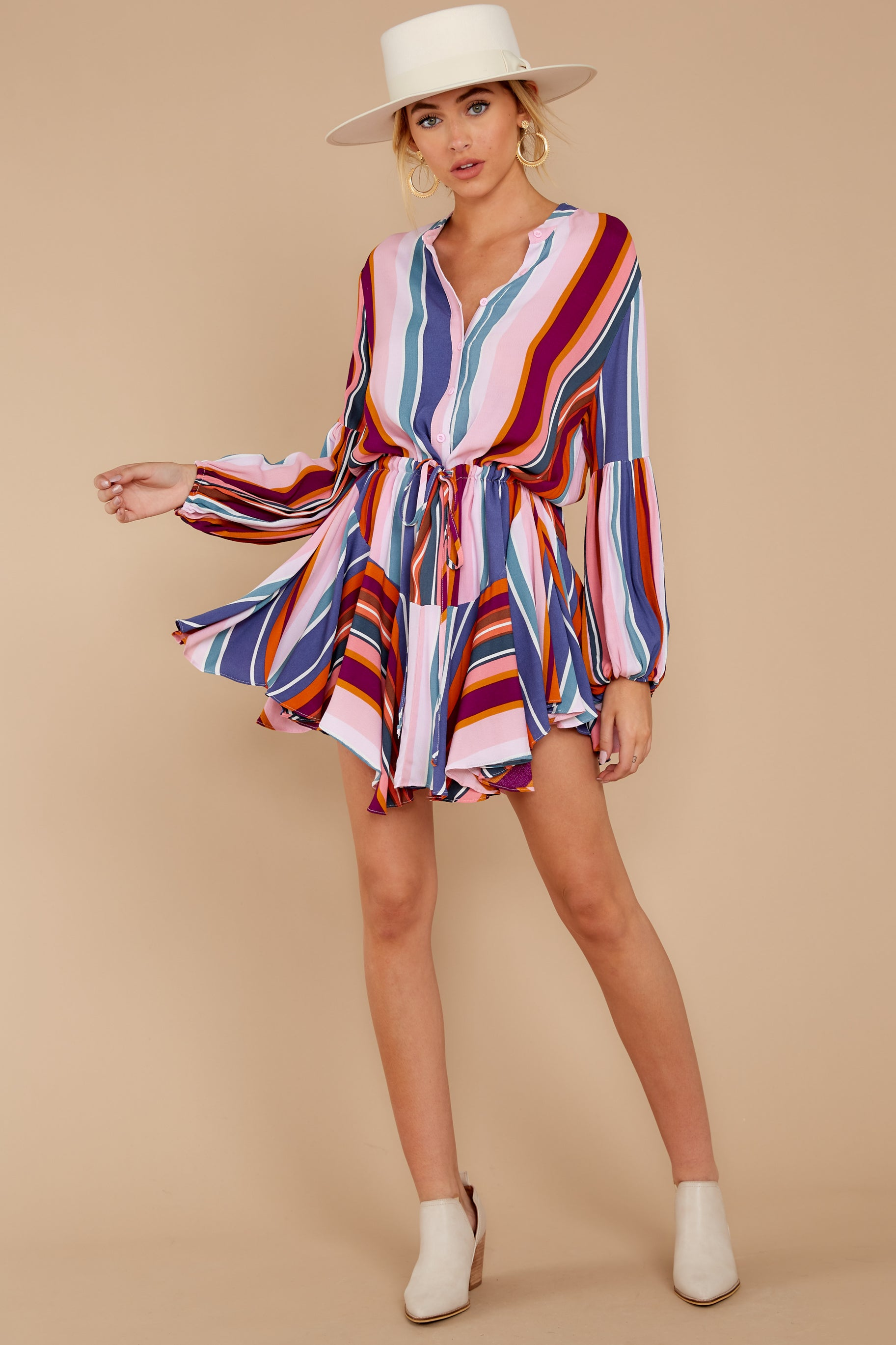 1 Let This Be Pink Multi Stripe Dress at reddressboutique.com