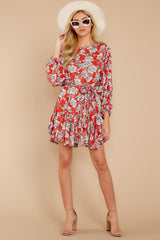 On Your Side Red Floral Print Dress