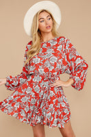 Jeweled Neck Keyhole Belted Dolman Sleeves Full-Skirt Rayon Floral Print Tie Waist Waistline Dress