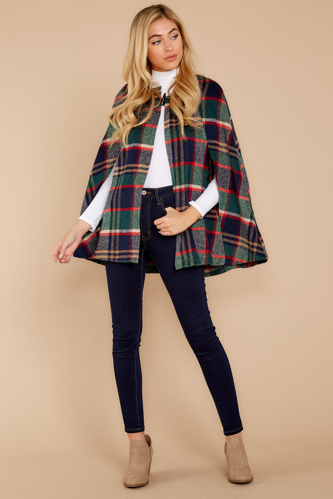1 Instant Panache Green Multi Plaid Cape at reddress.com