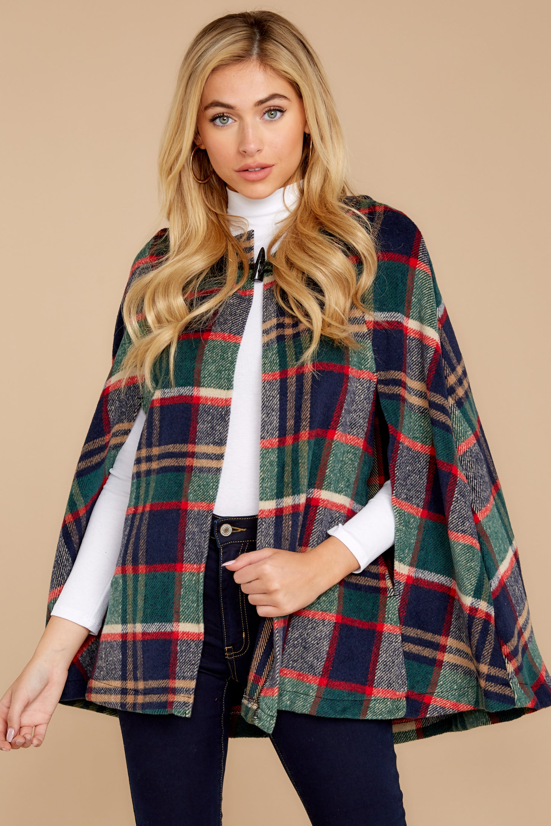 5 Instant Panache Green Multi Plaid Cape at reddressboutique.com