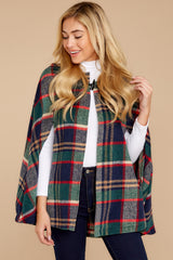 6 Instant Panache Green Multi Plaid Cape at reddressboutique.com