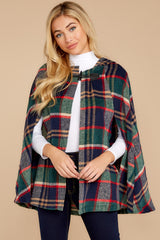 8 Instant Panache Green Multi Plaid Cape at reddressboutique.com