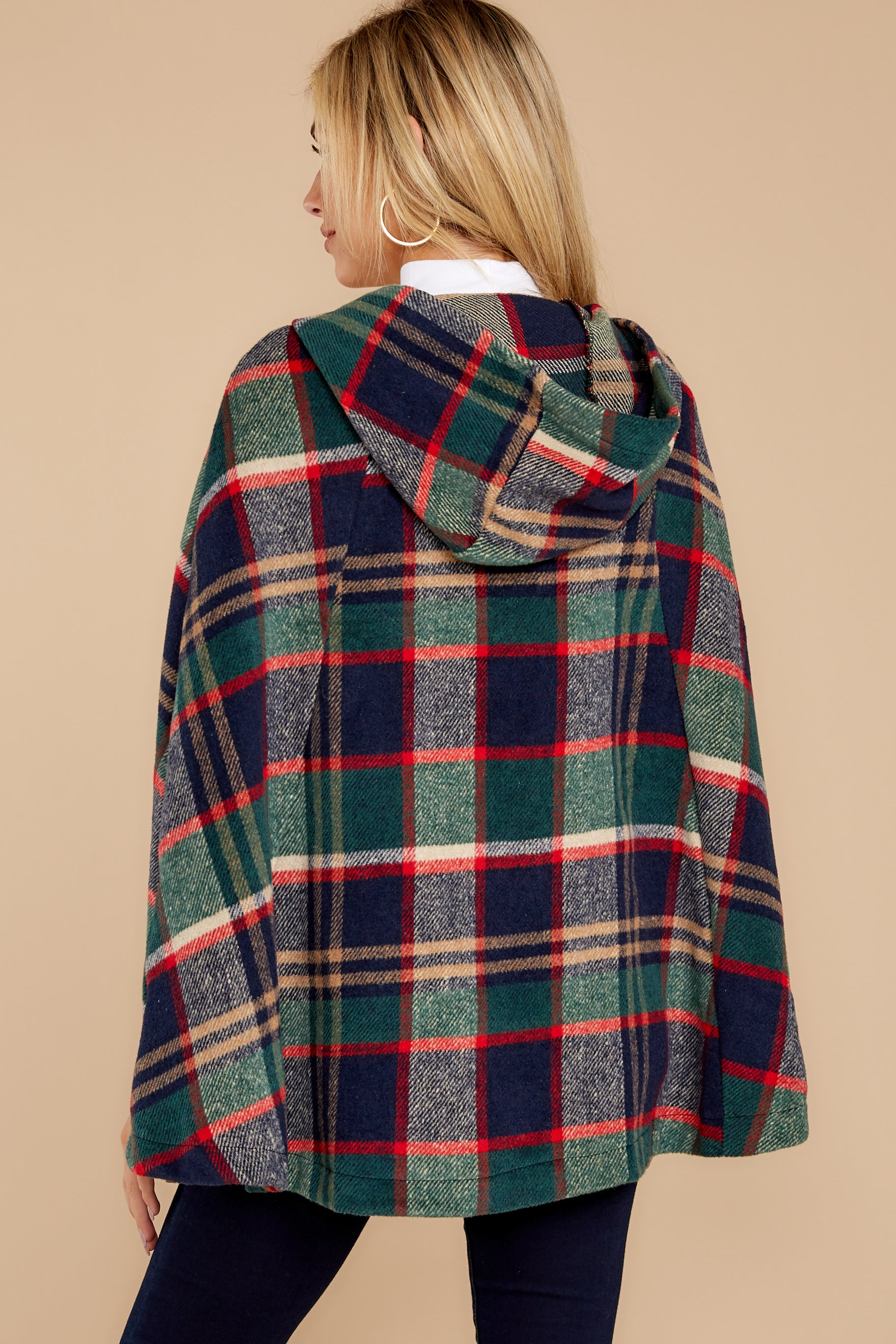 9 Instant Panache Green Multi Plaid Cape at reddressboutique.com