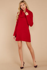 2 Let's Be Real Red Cowl Neck Sweater Dress at reddressboutique.com