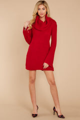 3 Let's Be Real Red Cowl Neck Sweater Dress at reddressboutique.com