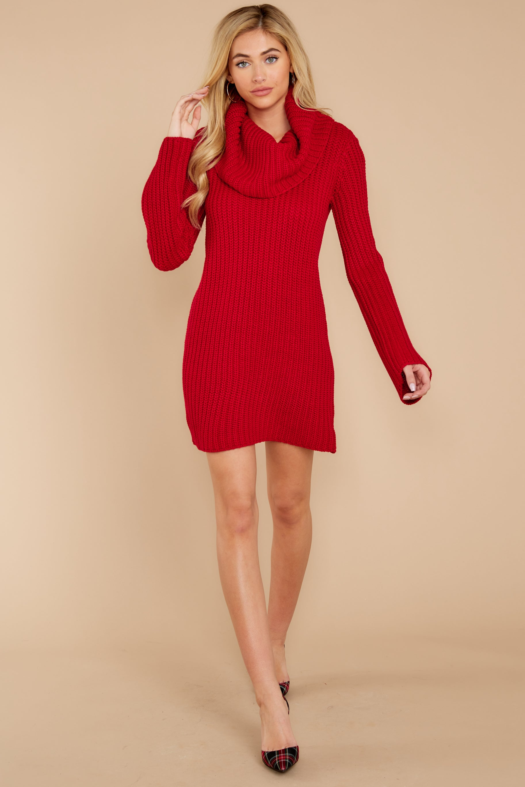 4 Let's Be Real Red Cowl Neck Sweater Dress at reddressboutique.com