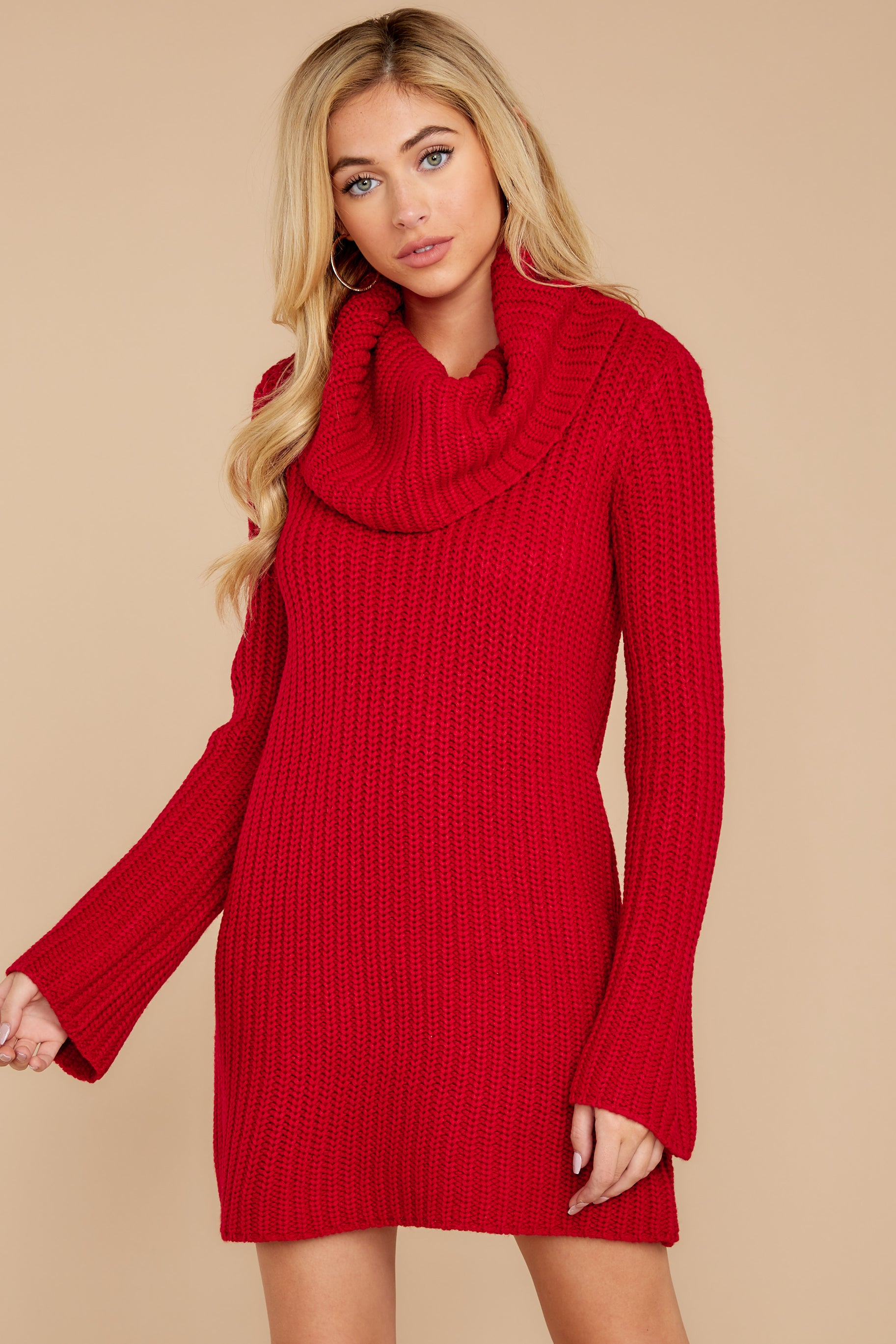 5 Let's Be Real Red Cowl Neck Sweater Dress at reddressboutique.com