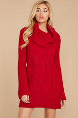6 Let's Be Real Red Cowl Neck Sweater Dress at reddressboutique.com
