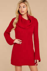 7 Let's Be Real Red Cowl Neck Sweater Dress at reddressboutique.com