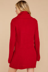 8 Let's Be Real Red Cowl Neck Sweater Dress at reddressboutique.com