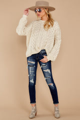 2 The Maine Attraction Cream Cable Knit Sweater at reddress.com