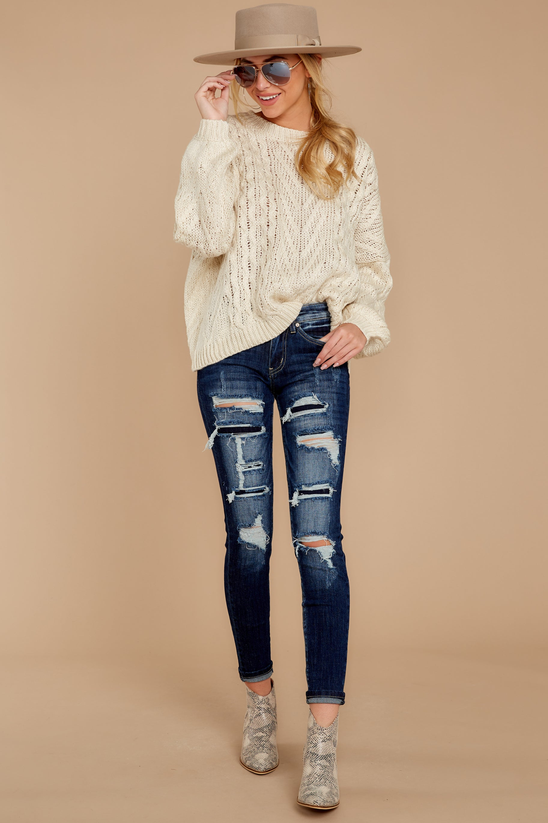 2 The Maine Attraction Cream Cable Knit Sweater at reddressboutique.com