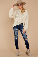 4 The Maine Attraction Cream Cable Knit Sweater at reddressboutique.com