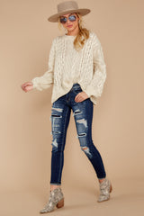 3 The Maine Attraction Cream Cable Knit Sweater at reddressboutique.com