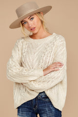 5 The Maine Attraction Cream Cable Knit Sweater at reddressboutique.com