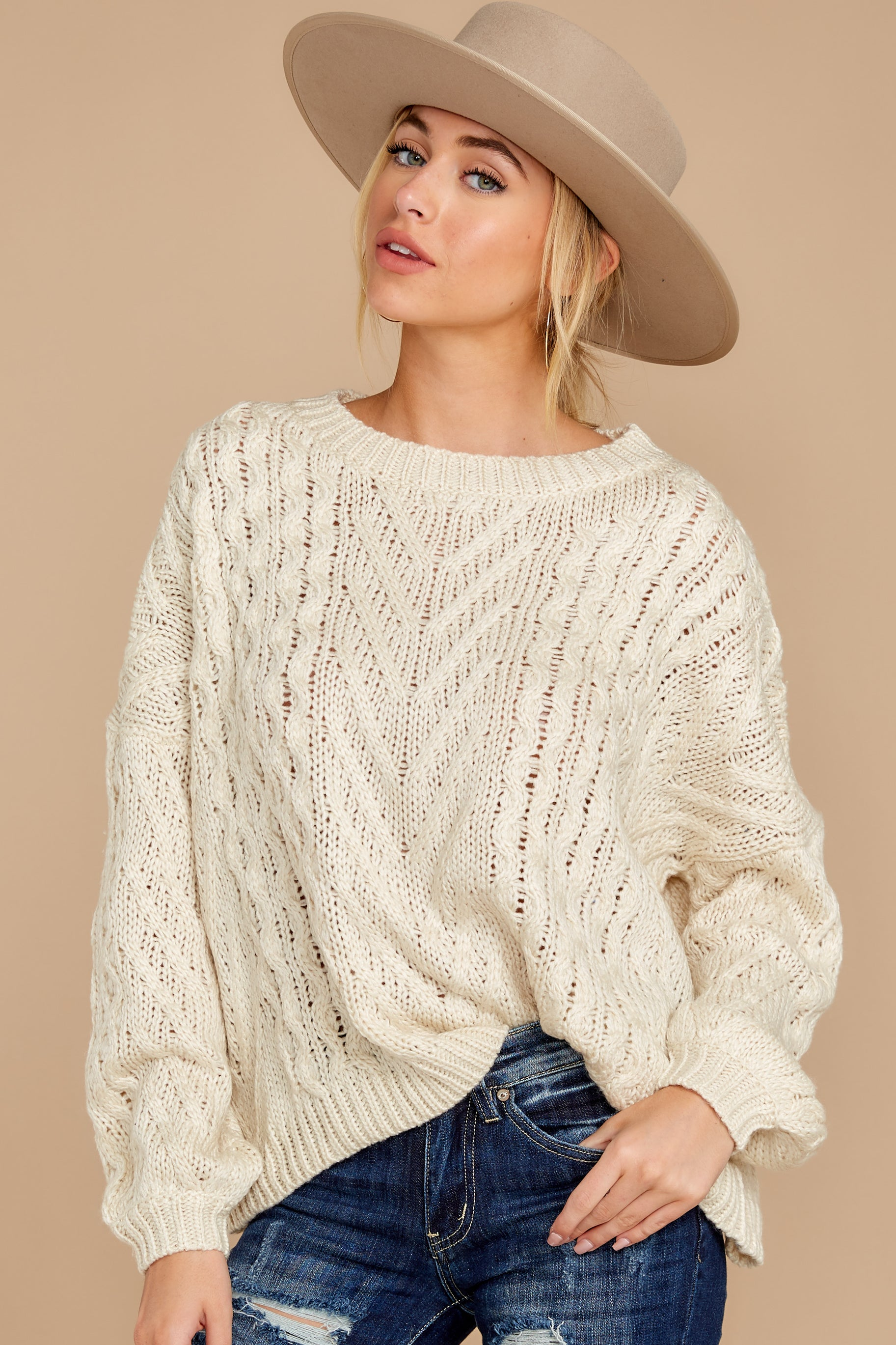 1 The Maine Attraction Cream Cable Knit Sweater at reddress.com
