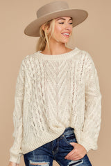 7 The Maine Attraction Cream Cable Knit Sweater at reddress.com