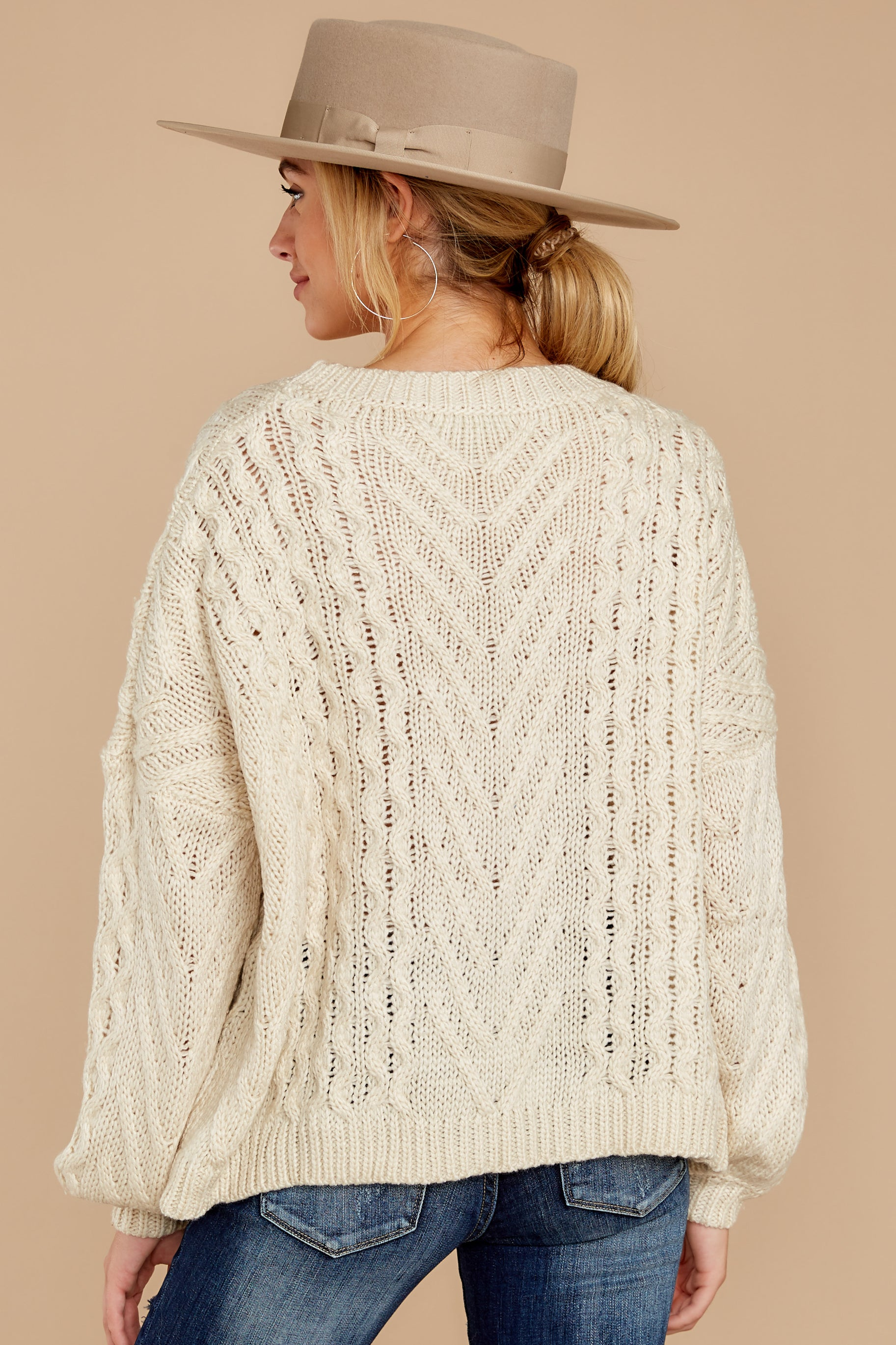 8 The Maine Attraction Cream Cable Knit Sweater at reddressboutique.com