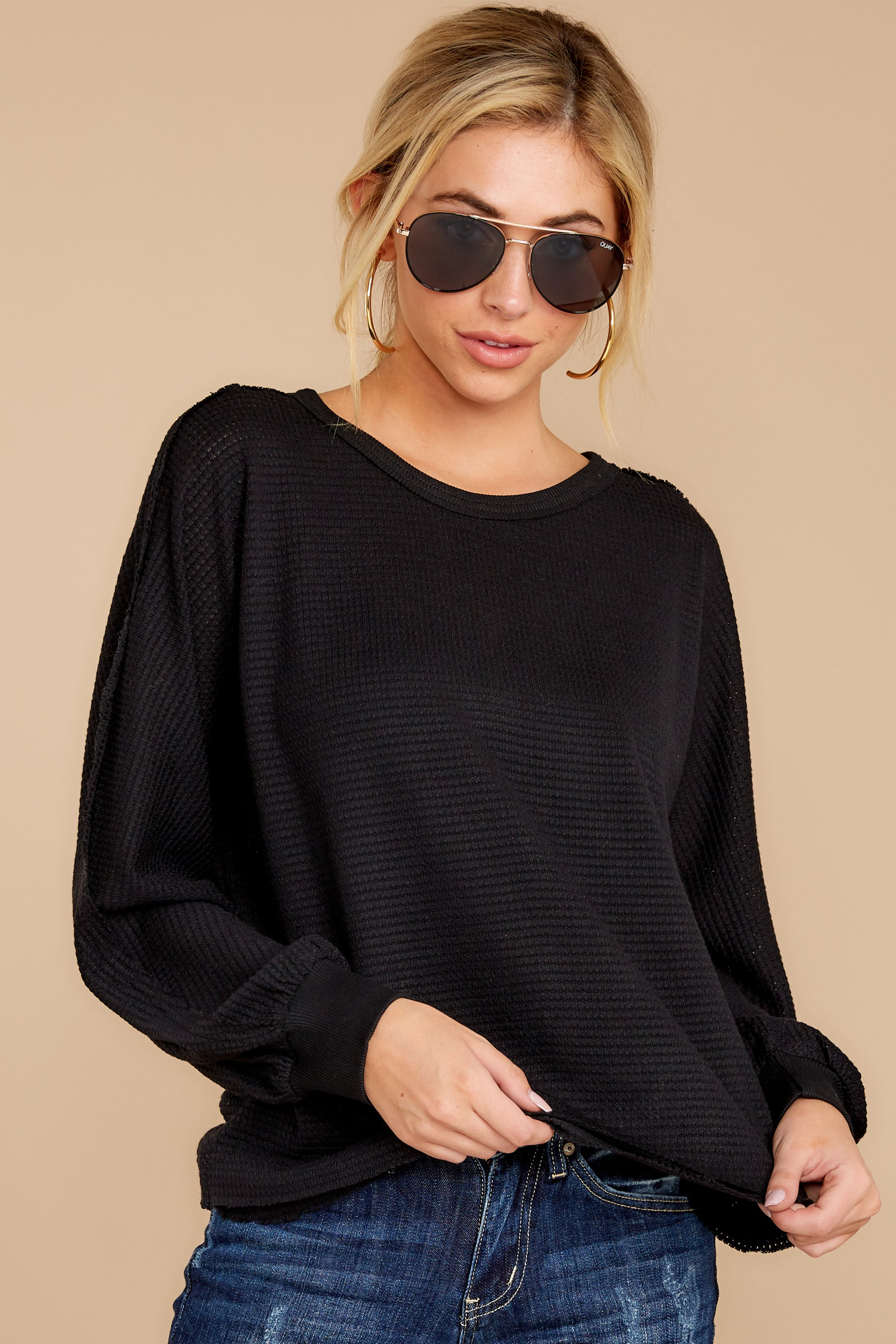 6 Gotta Be Real Black Waffle Knit Sweater at reddressboutique.com