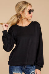 7 Gotta Be Real Black Waffle Knit Sweater at reddressboutique.com