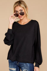 8 Gotta Be Real Black Waffle Knit Sweater at reddressboutique.com
