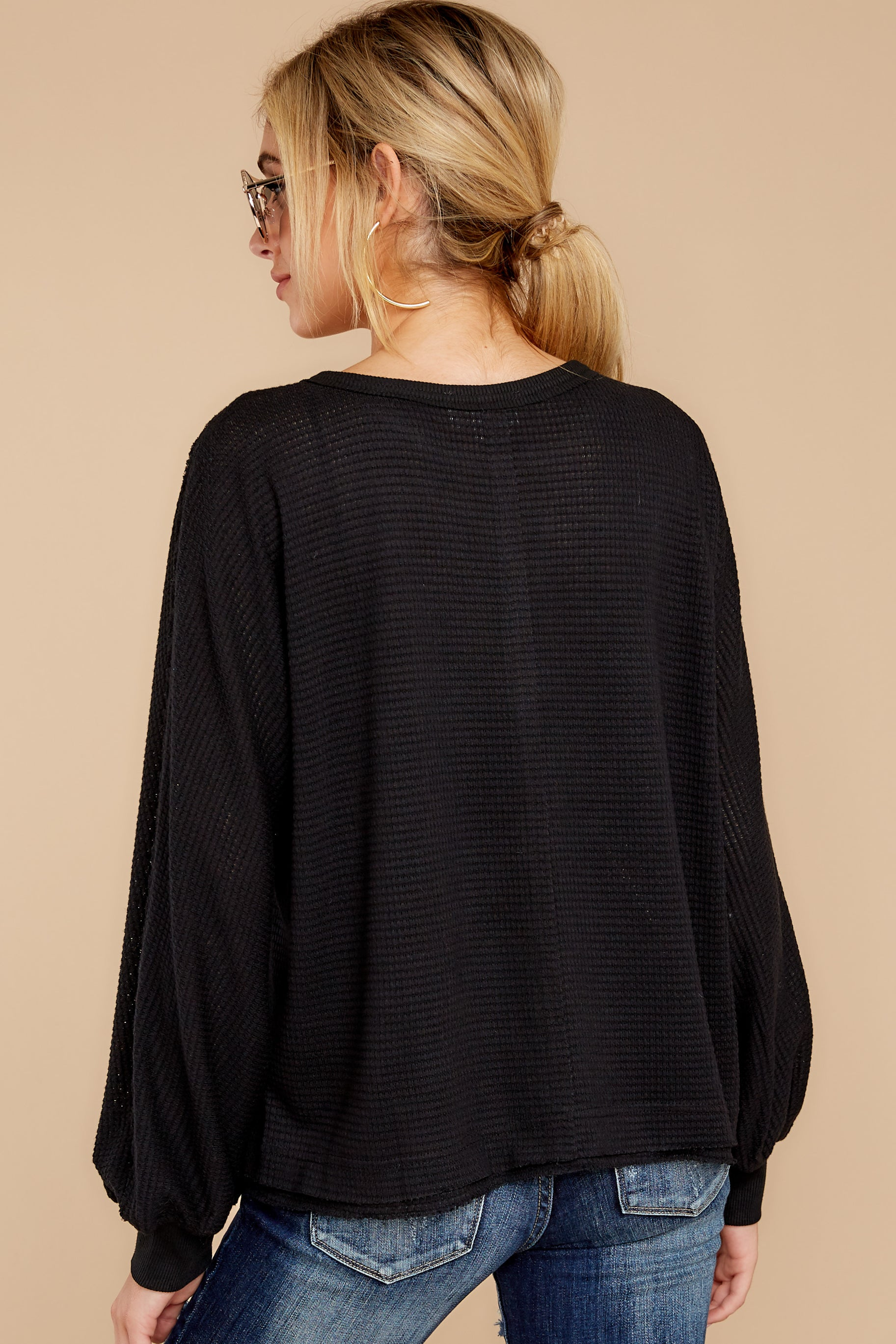 9 Gotta Be Real Black Waffle Knit Sweater at reddressboutique.com