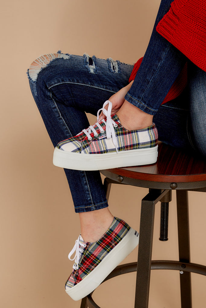 4 Plaid My Way Red Multi Plaid Slip On Sneakers at reddressboutique.com