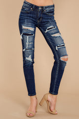 Stop For A Minute Dark Wash Distressed Skinny Jeans