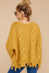 Need To Know  Mustard Cable Knit Sweater