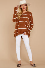 1 Great Expectations Light Brown Stripe Eyelash Sweater at reddressboutique.com