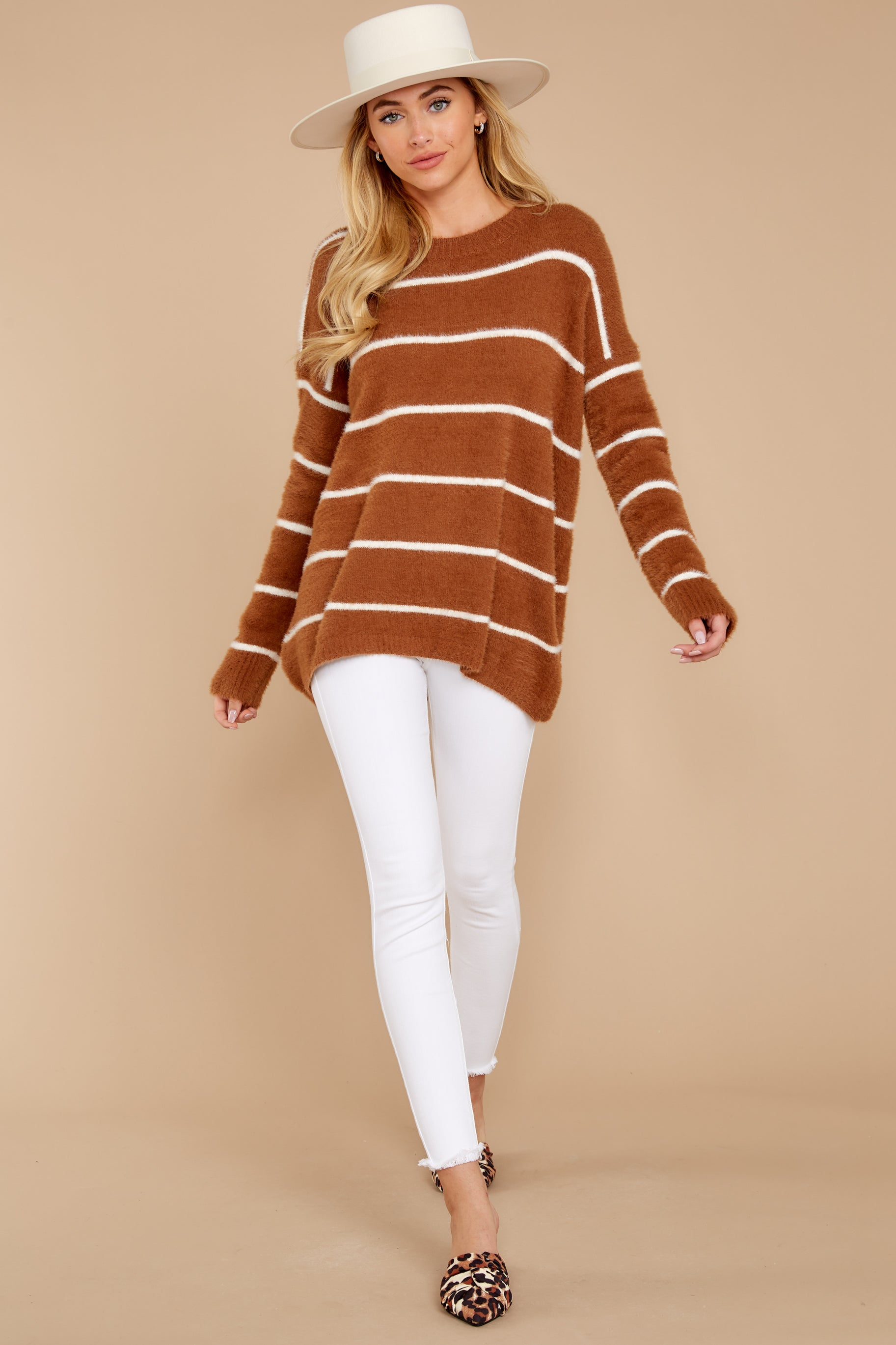 2 Great Expectations Light Brown Stripe Eyelash Sweater at reddressboutique.com
