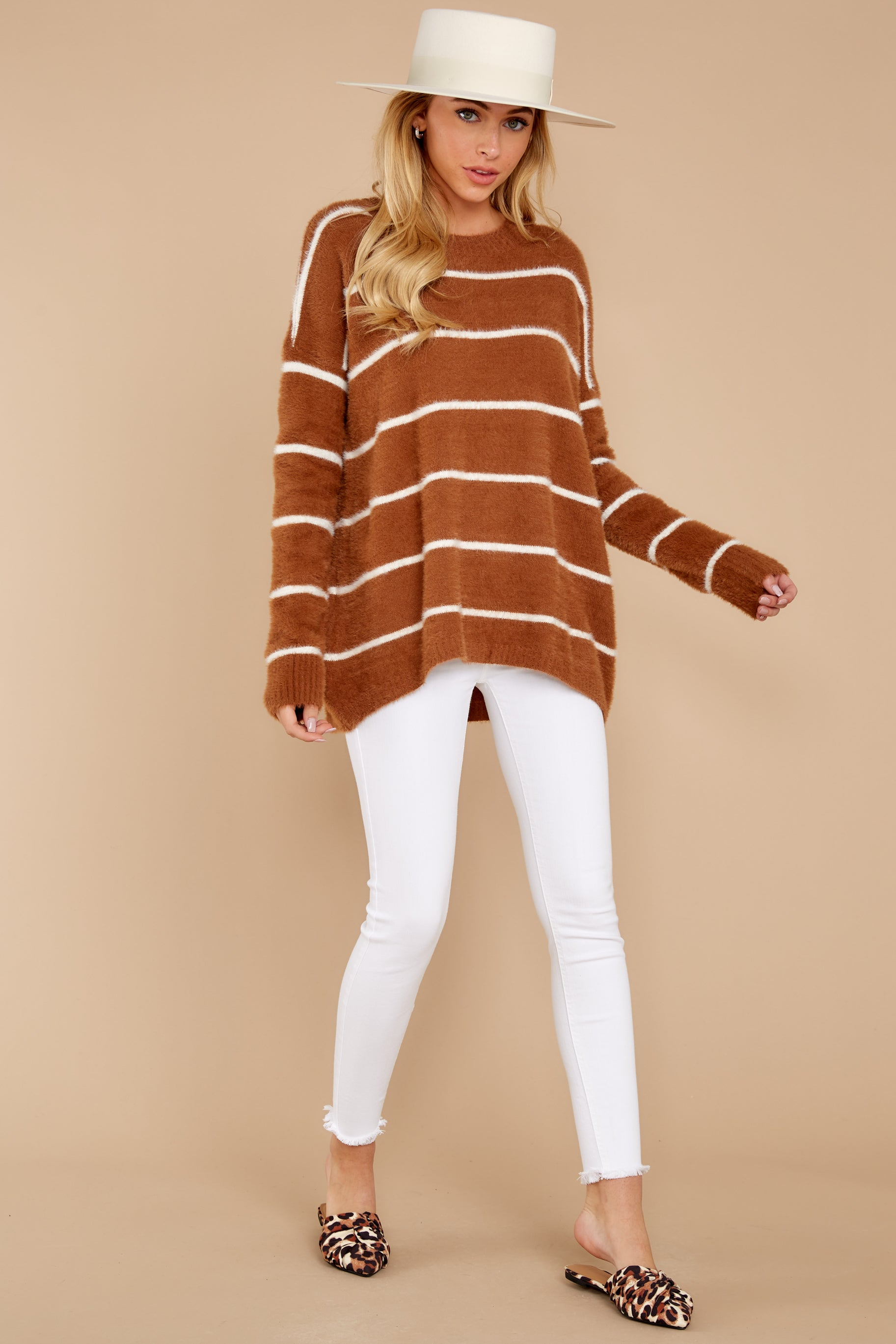 3 Great Expectations Light Brown Stripe Eyelash Sweater at reddressboutique.com