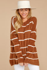 4 Great Expectations Light Brown Stripe Eyelash Sweater at reddressboutique.com