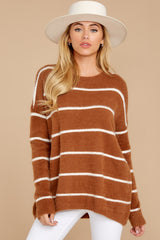 5 Great Expectations Light Brown Stripe Eyelash Sweater at reddressboutique.com
