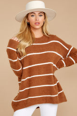 6 Great Expectations Light Brown Stripe Eyelash Sweater at reddressboutique.com