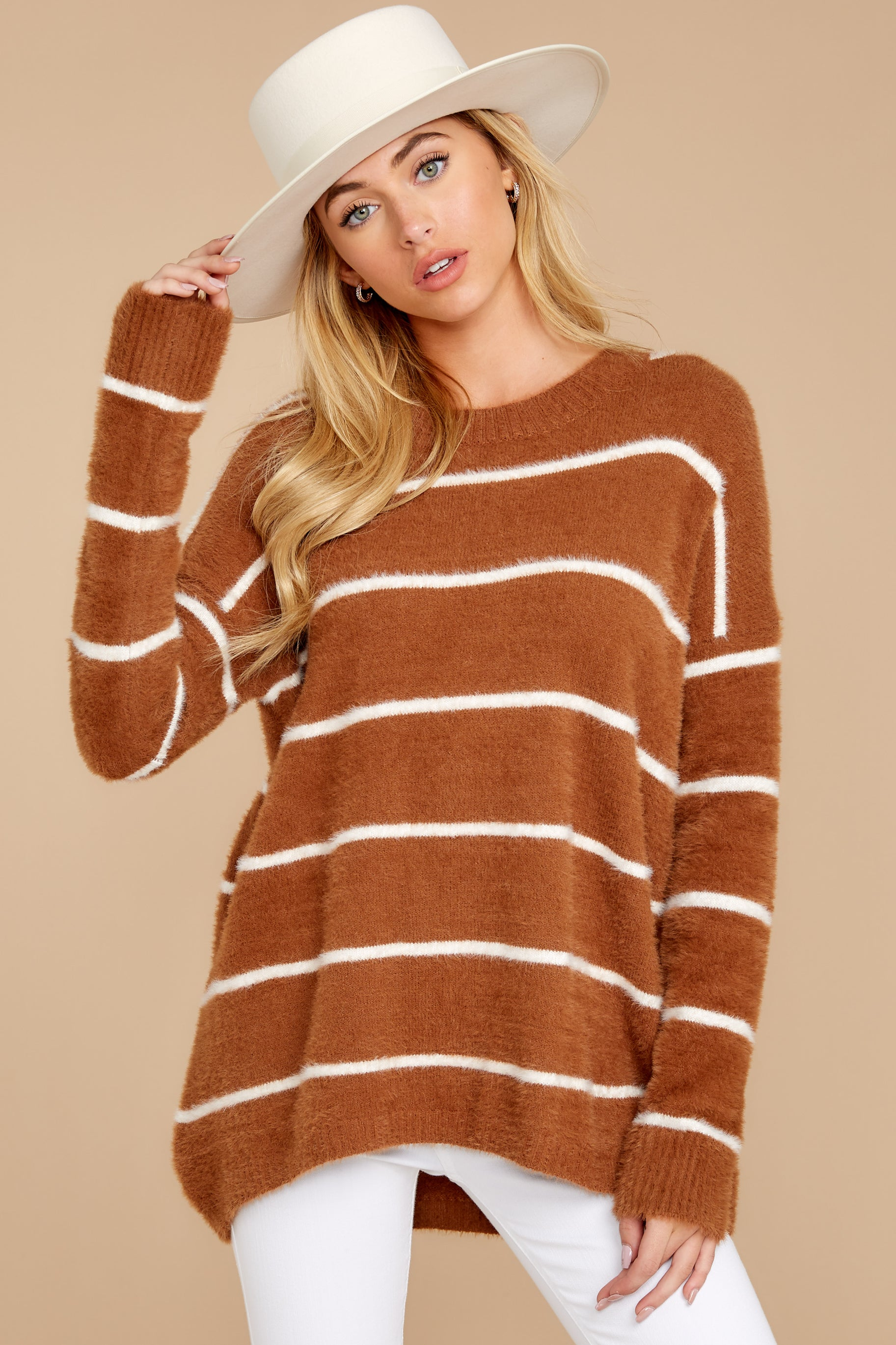 7 Great Expectations Light Brown Stripe Eyelash Sweater at reddressboutique.com