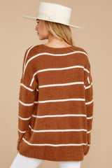 8 Great Expectations Light Brown Stripe Eyelash Sweater at reddressboutique.com