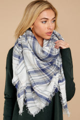 3 Right For You Blue Multi Plaid Scarf at reddressboutique.com