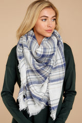 4 Right For You Blue Multi Plaid Scarf at reddressboutique.com