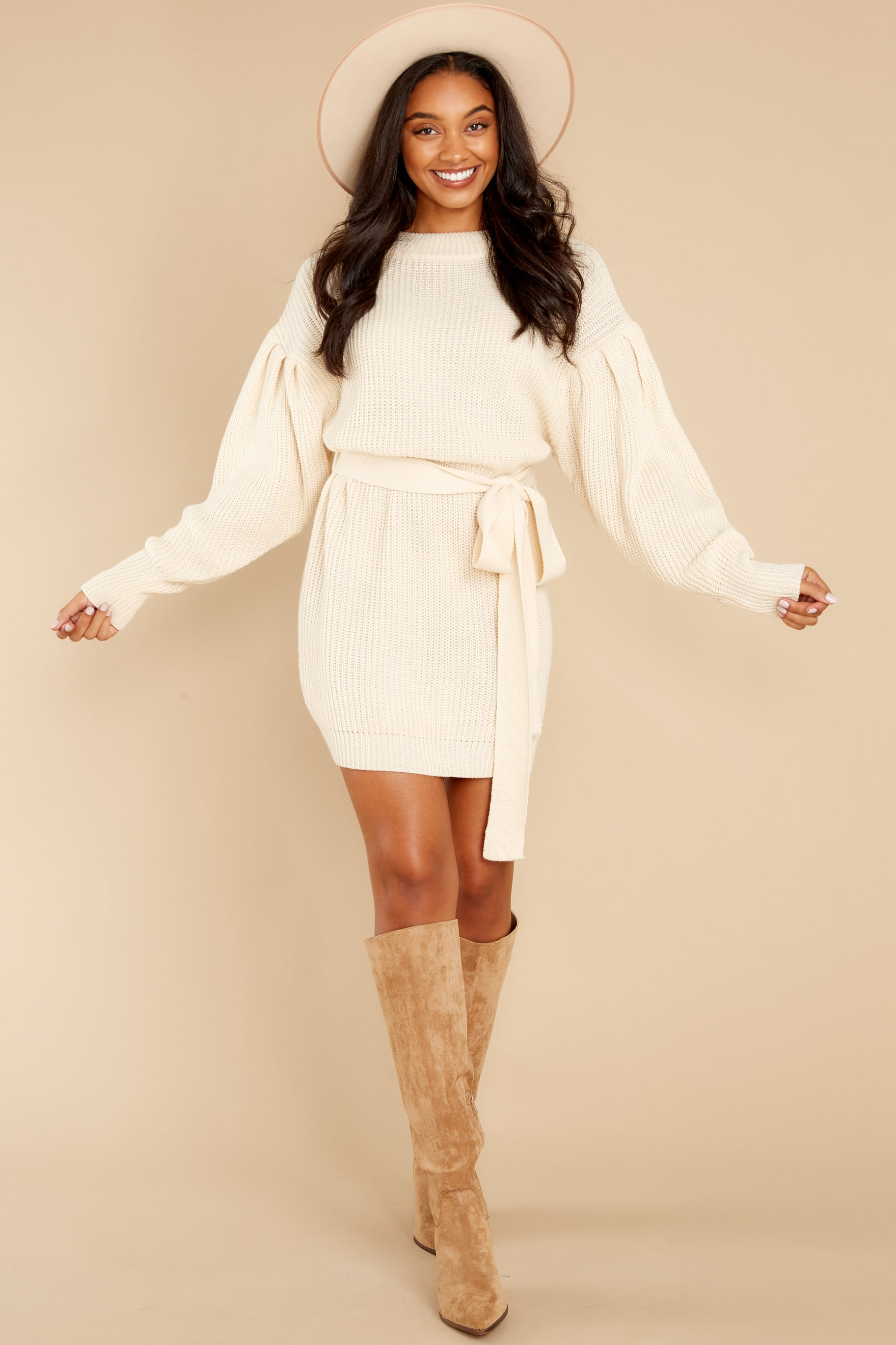 4 Impeccable Style Ivory Sweater Dress at reddress.com