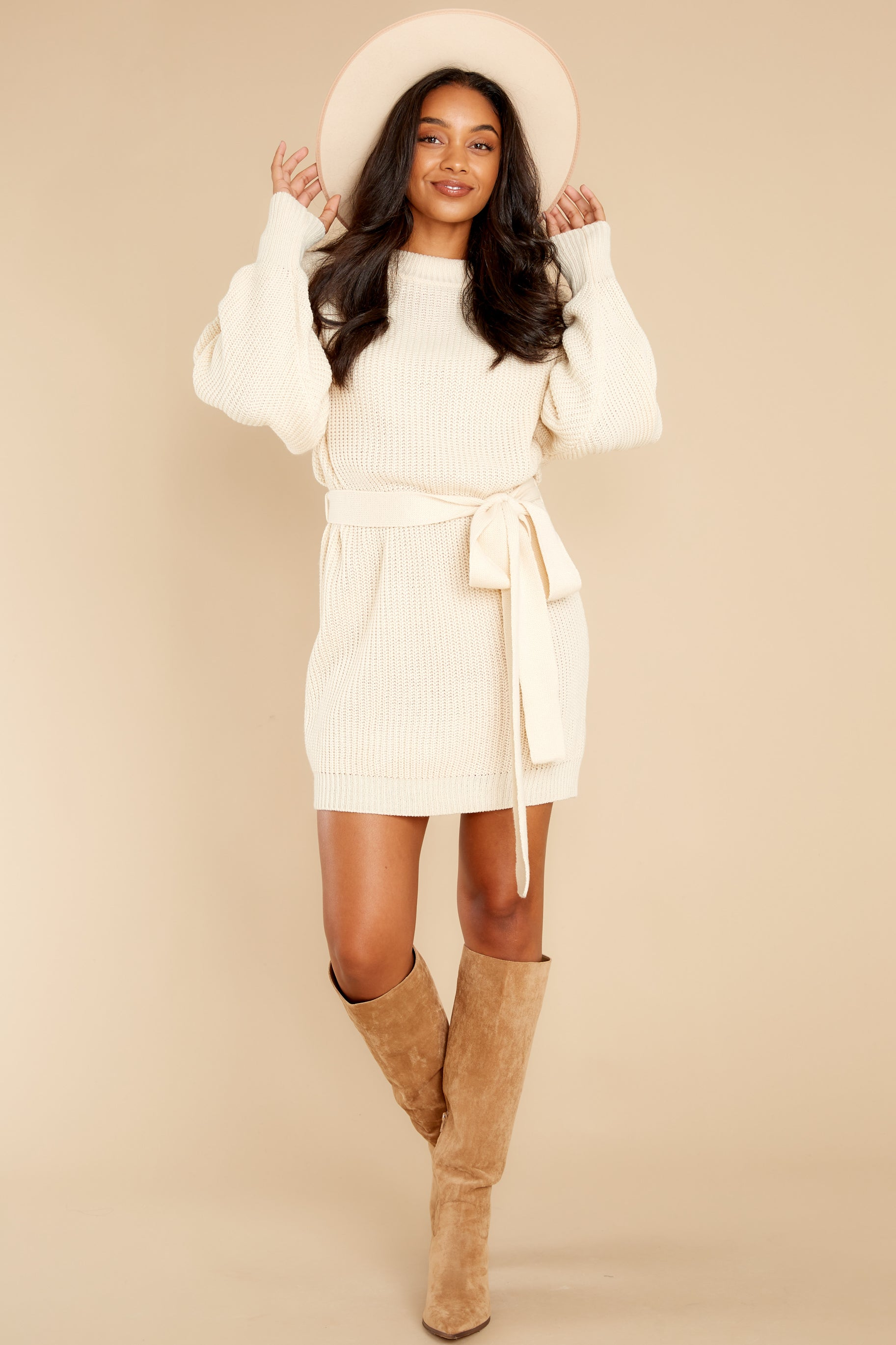 2 Impeccable Style Ivory Sweater Dress at reddress.com